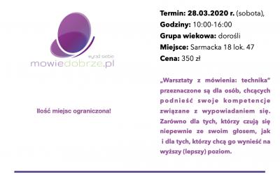 Warsztaty z mówienia technika: 28.03.2020 g. 10:00-16:00